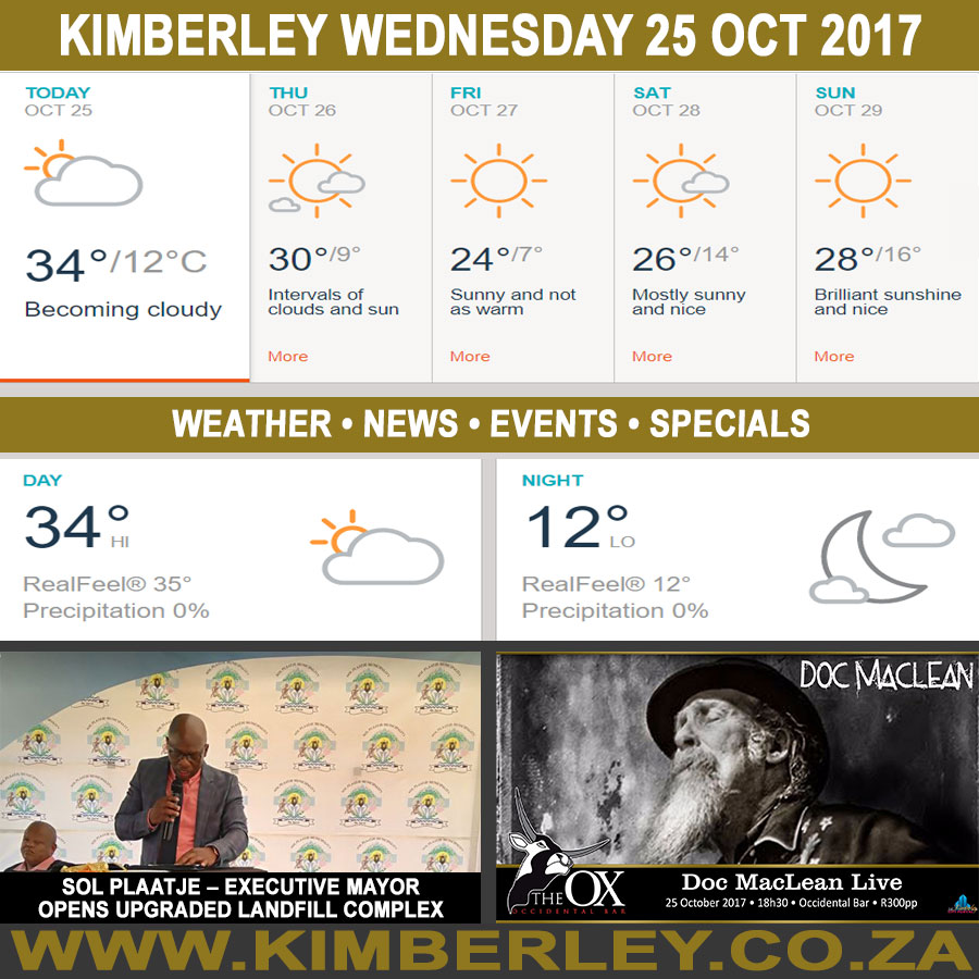 Today in Kimberley South Africa - Weather News Events 2017/10/25