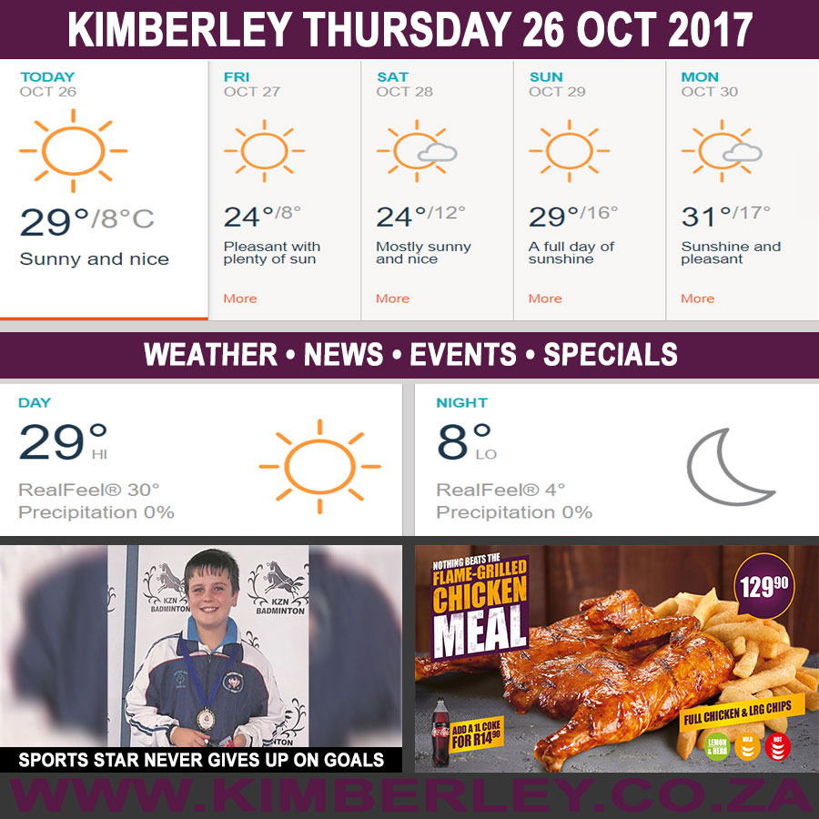 Today in Kimberley South Africa - Weather News Events 2017/10/26