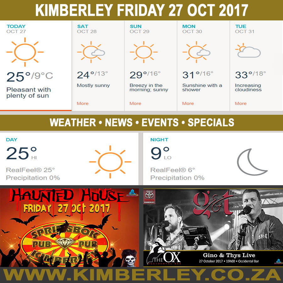 Today in Kimberley South Africa - Weather News Events 2017/10/27