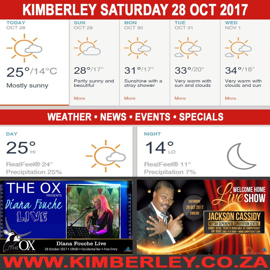 Today in Kimberley South Africa - Weather News Events 2017/10/28