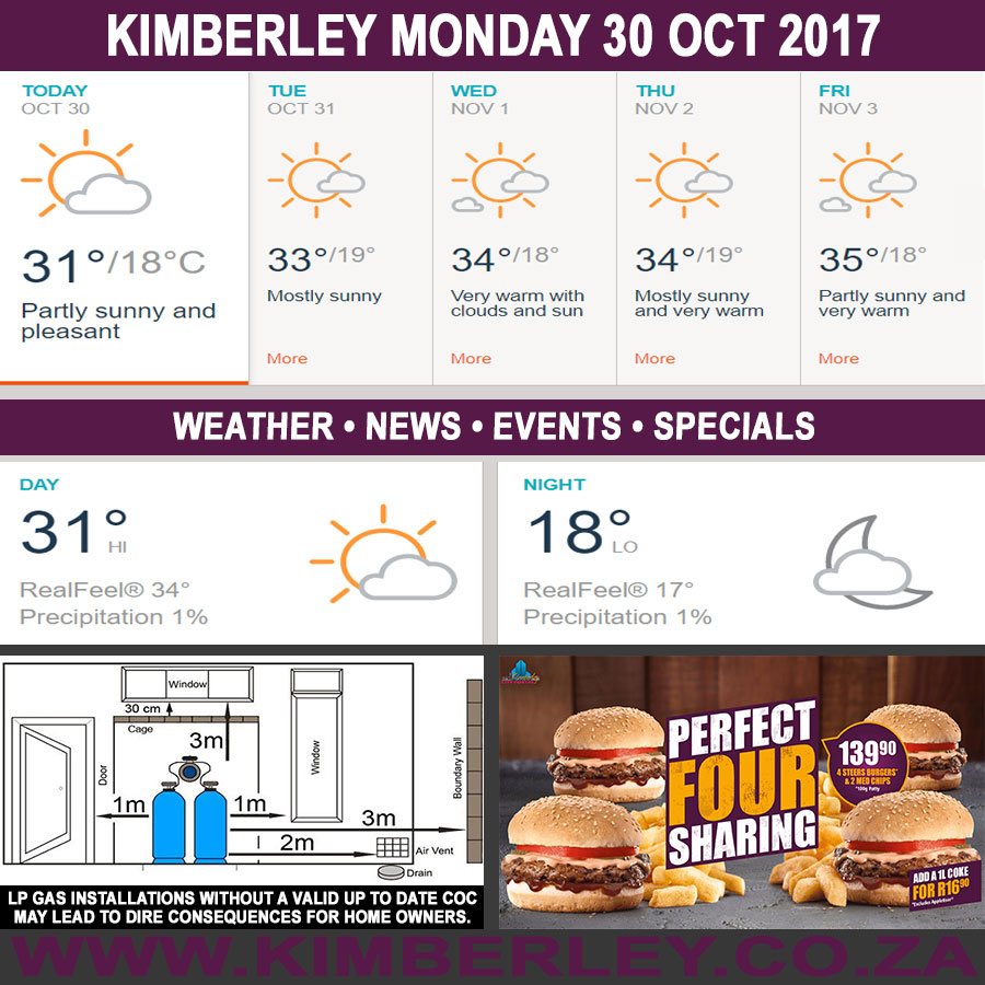 Today in Kimberley South Africa - Weather News Events 2017/10/30