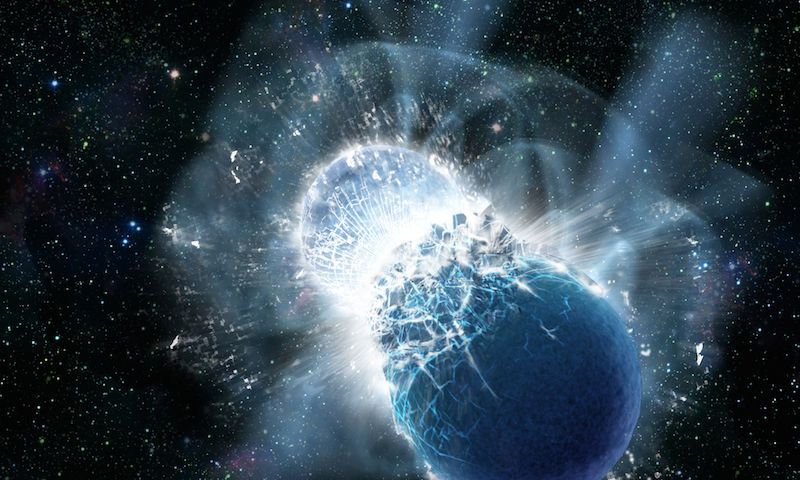 An artists impression of the collision of two neutron stars.