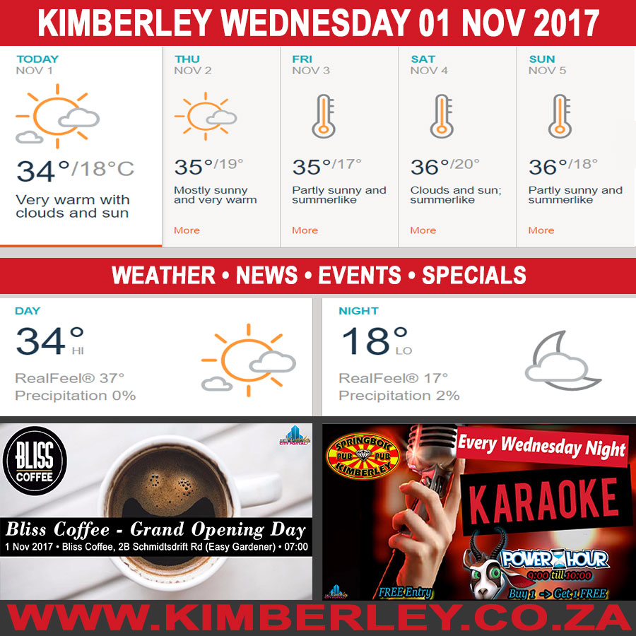 Today in Kimberley South Africa - Weather News Events 2017/11/01
