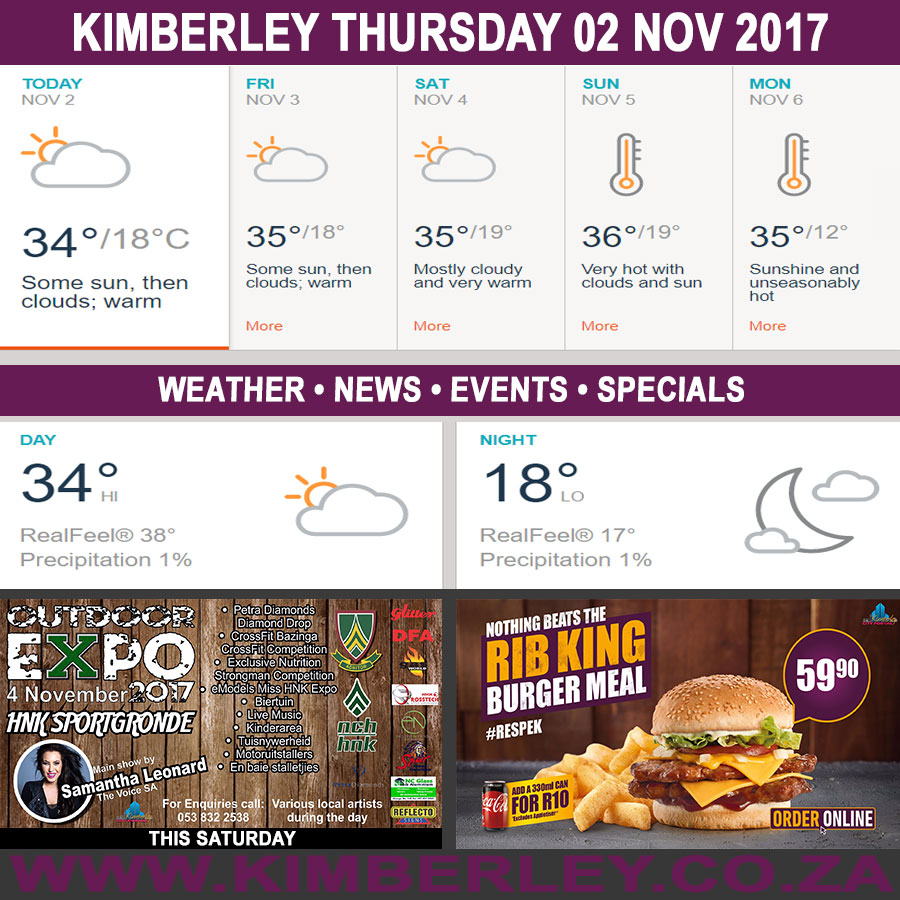 Today in Kimberley South Africa - Weather News Events 2017/11/02