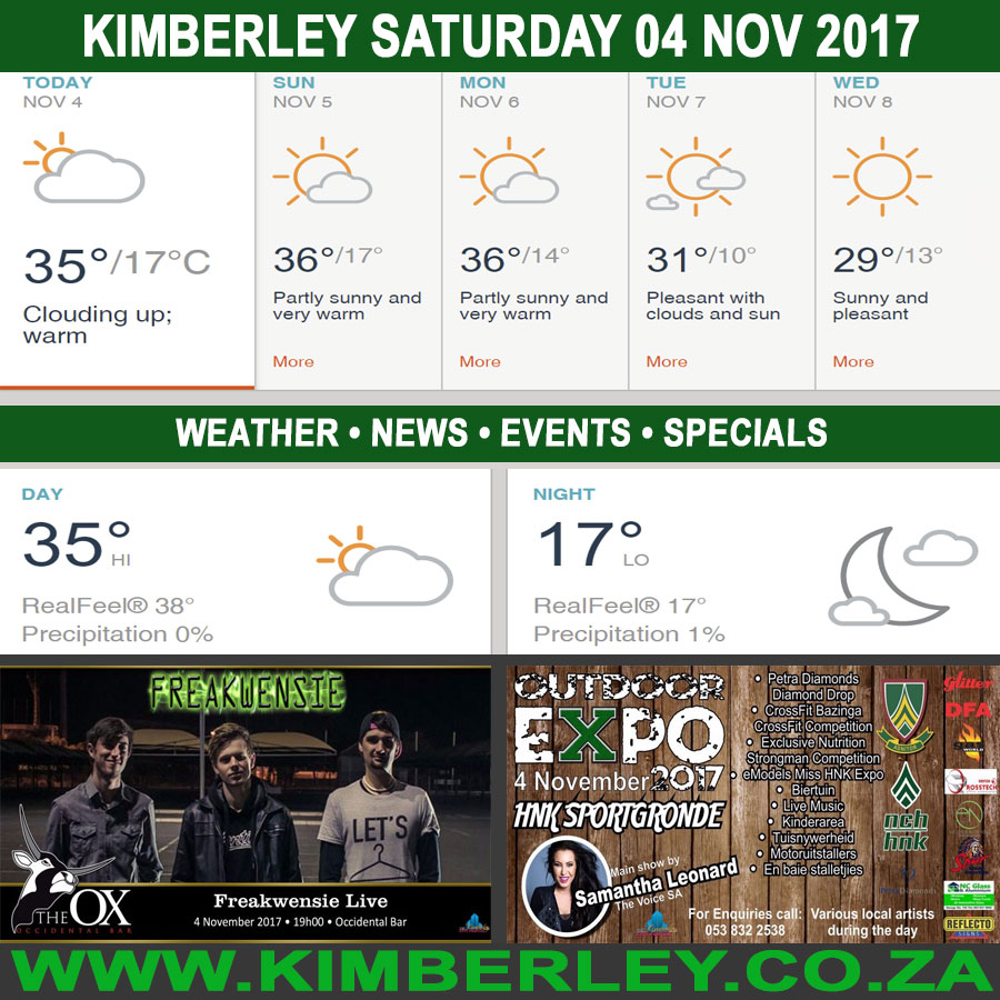 Today in Kimberley South Africa - Weather News Events 2017/11/04