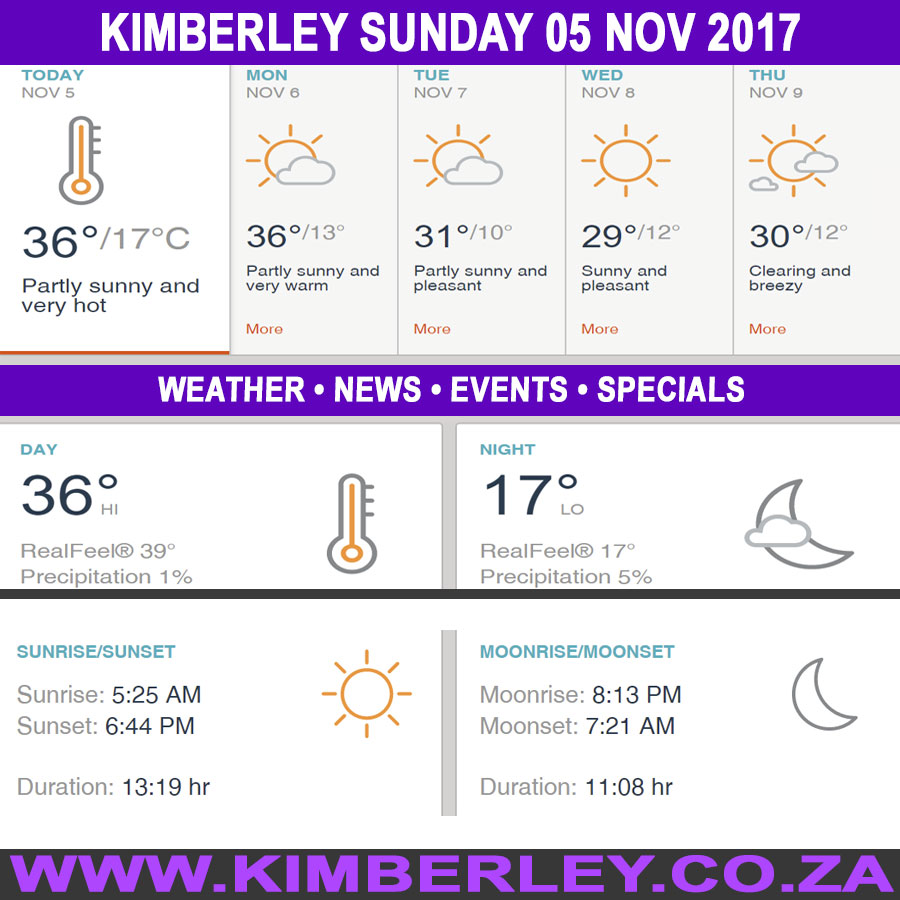 Today in Kimberley South Africa - Weather News Events 2017/11/05