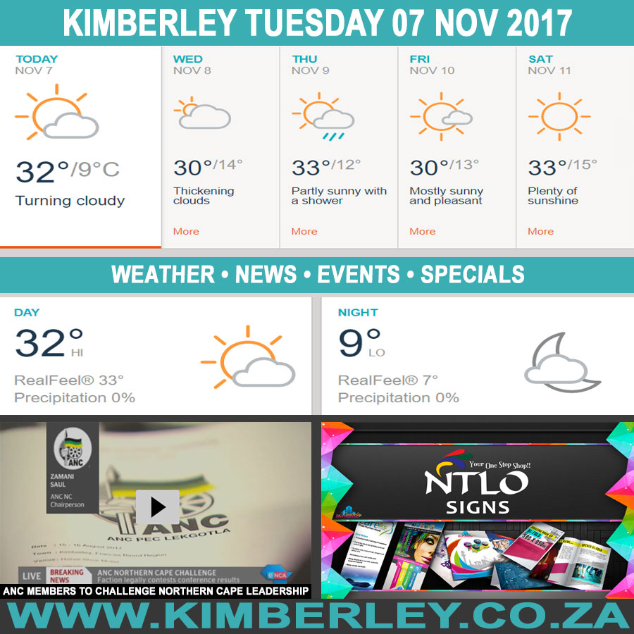 Today in Kimberley South Africa - Weather News Events 2017/11/07