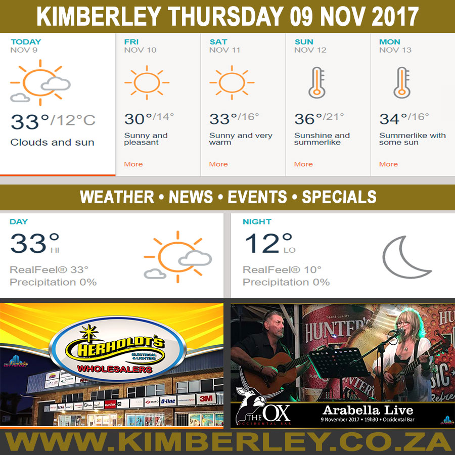 Today in Kimberley South Africa - Weather News Events 2017/11/09
