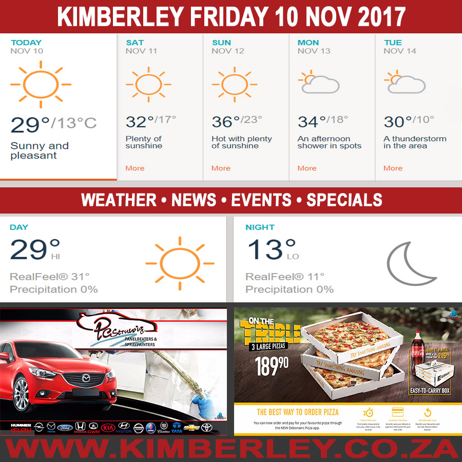 Today in Kimberley South Africa - Weather News Events 2017/11/10