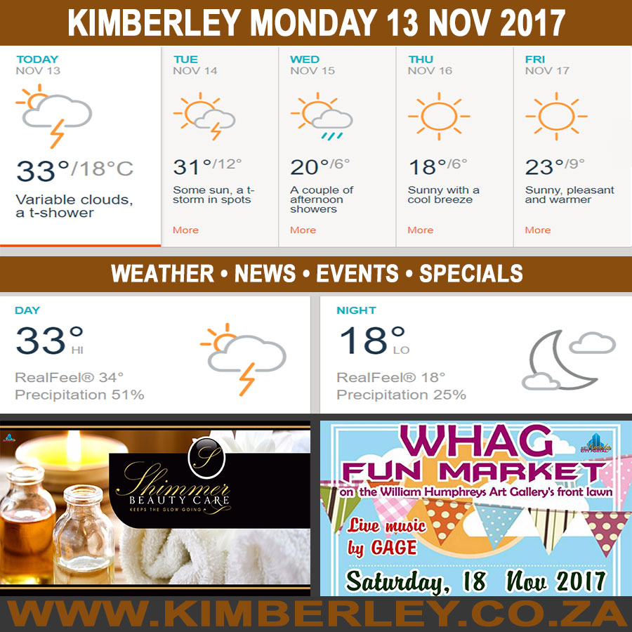 Today in Kimberley South Africa - Weather News Events 2017/11/13