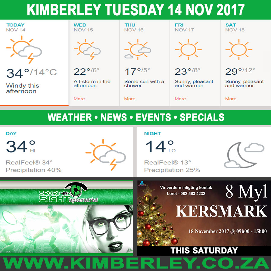 Today in Kimberley South Africa - Weather News Events 2017/11/14