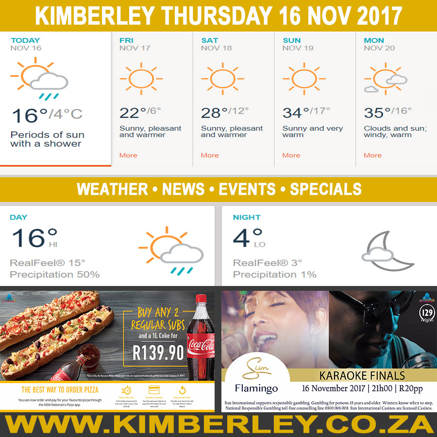 Today in Kimberley South Africa - Weather News Events 2017/11/16