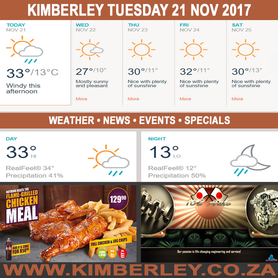 Today in Kimberley South Africa - Weather News Events 2017/11/21