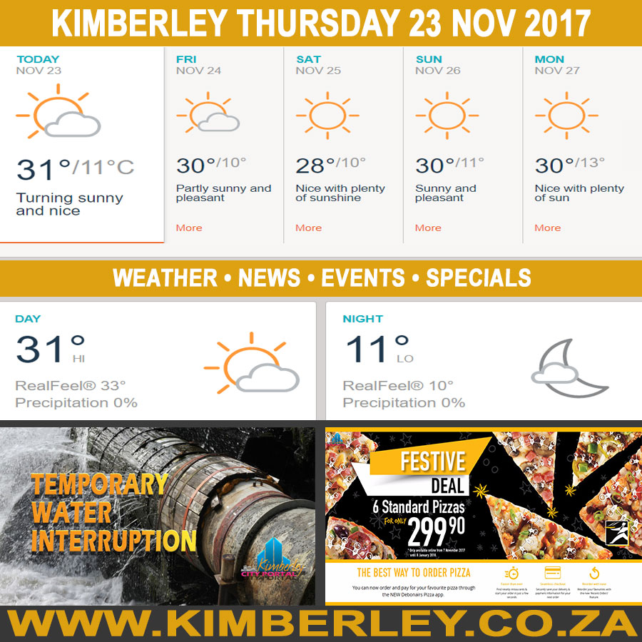 Today in Kimberley South Africa - Weather News Events 2017/11/23