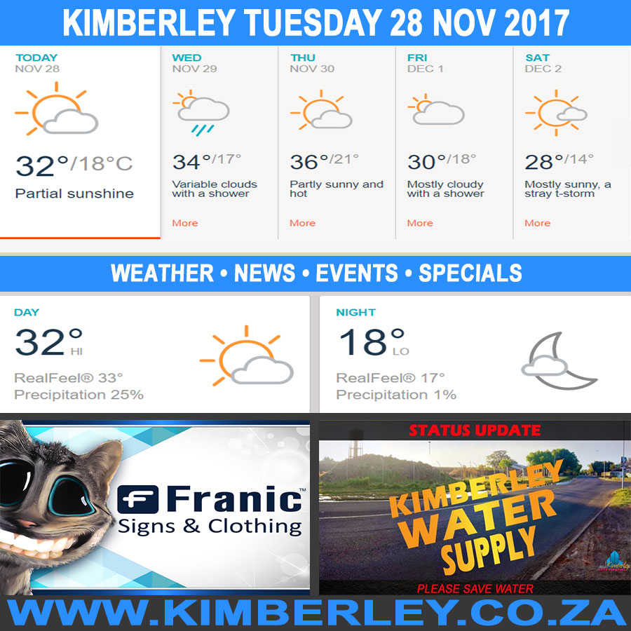 Today in Kimberley South Africa - Weather News Events 2017/11/28