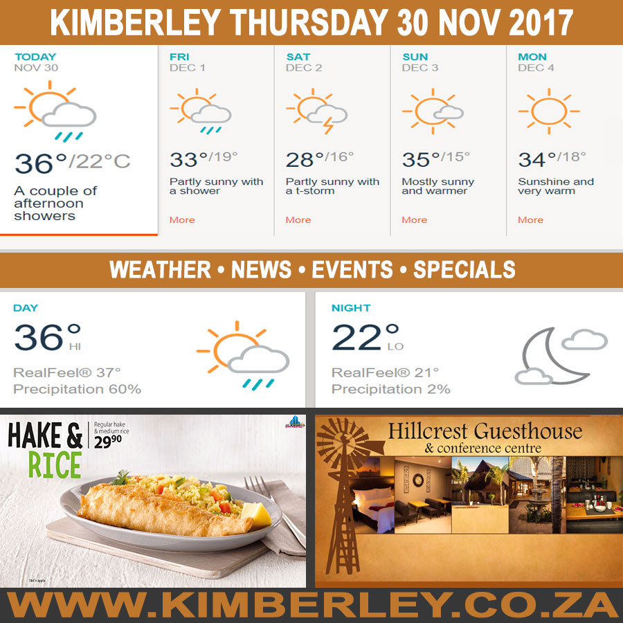 Today in Kimberley South Africa - Weather News Events 2017/11/30