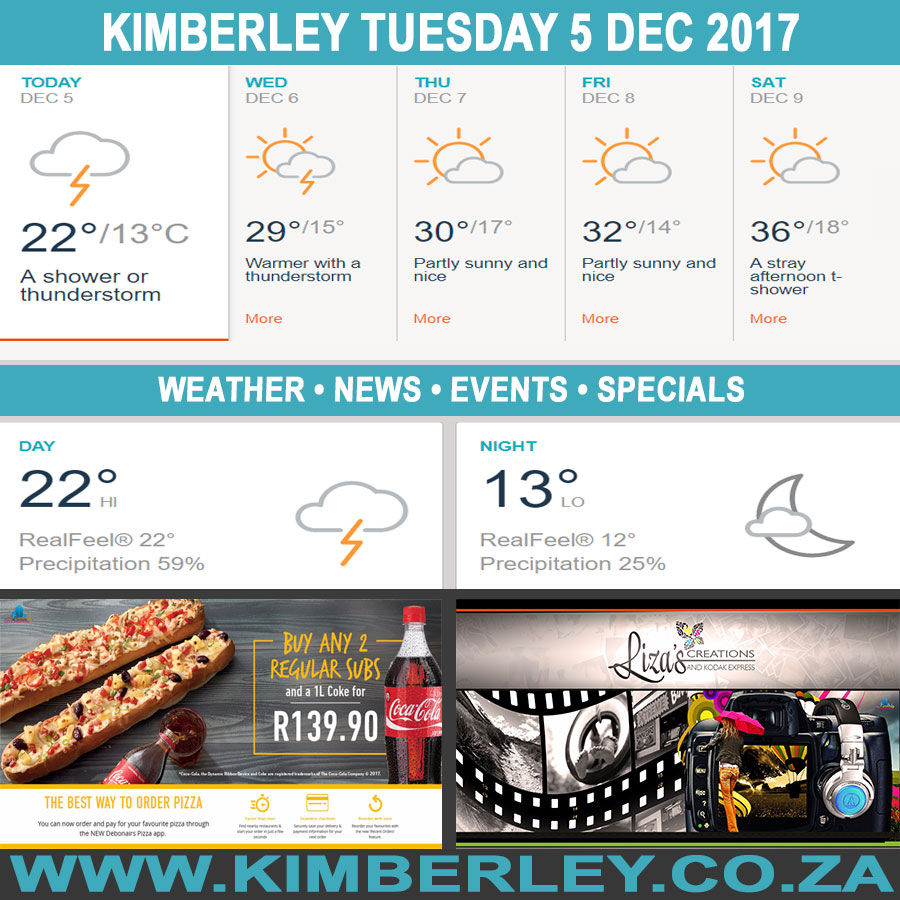 Today in Kimberley South Africa - Weather News Events 2017/12/05