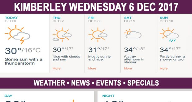 Today in Kimberley South Africa - Weather News Events 2017/12/06