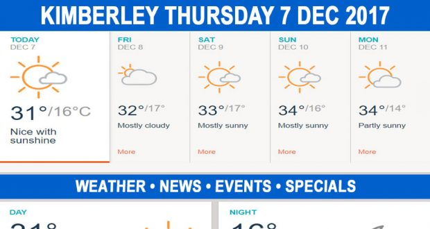 Today in Kimberley South Africa - Weather News Events 2017/12/07