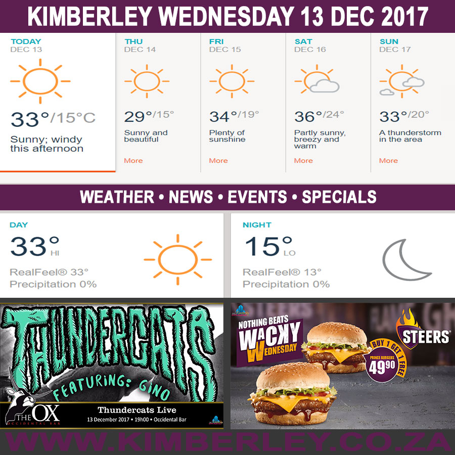 Today in Kimberley South Africa - Weather News Events 2017/12/13