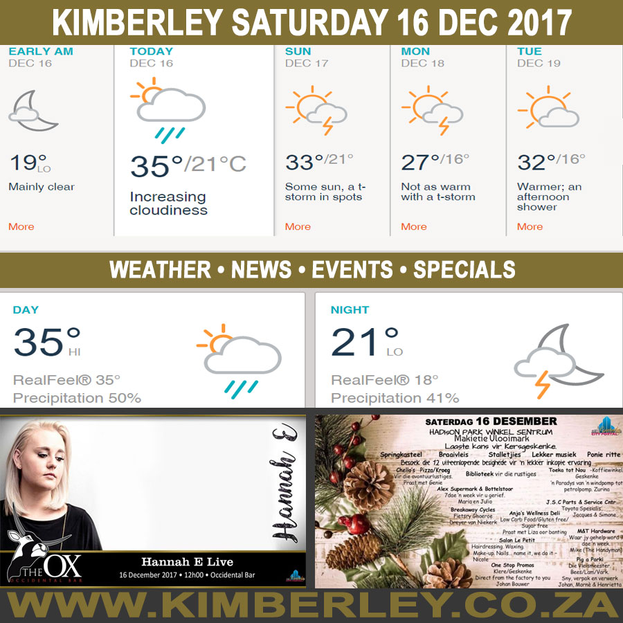 Today in Kimberley South Africa - Weather News Events 2017/12/16