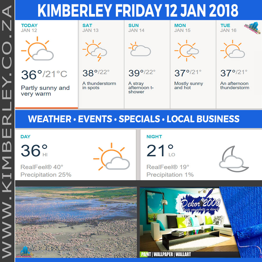 Today in Kimberley South Africa - Weather News Events 2018/01/12