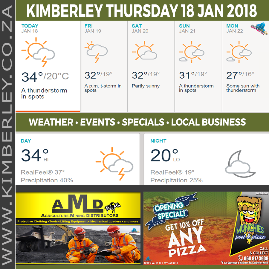 Today in Kimberley South Africa - Weather News Events 2018/01/18