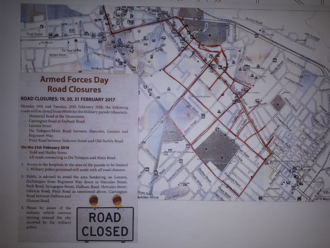 Armed Forces Day 2018 Road Closure Map