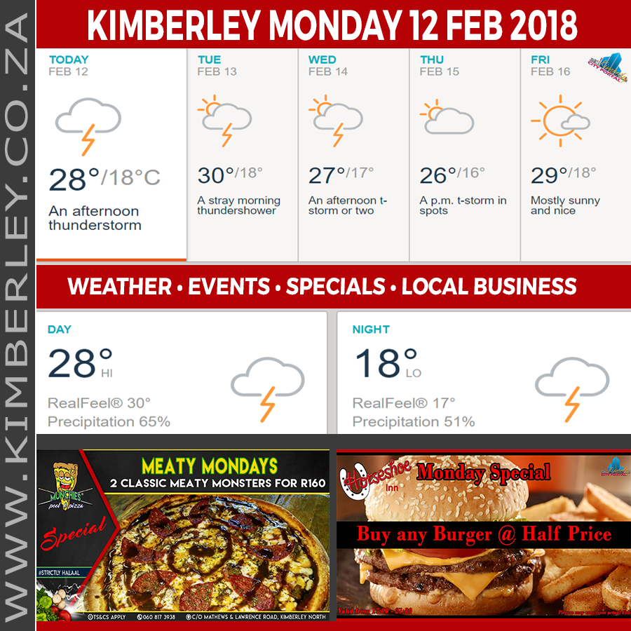 Today in Kimberley South Africa - Weather News Events 2018/02/12