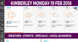 Today in Kimberley South Africa - Weather News Events 2018/02/19