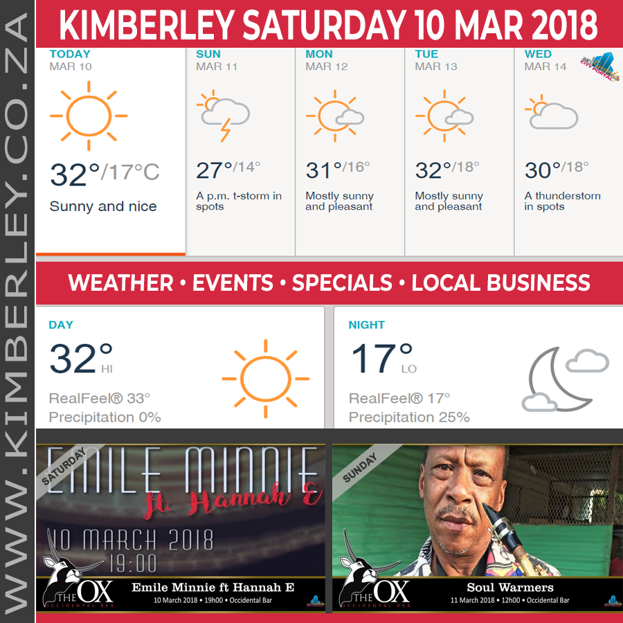 Today in Kimberley South Africa - Weather News Events 2018/03/10