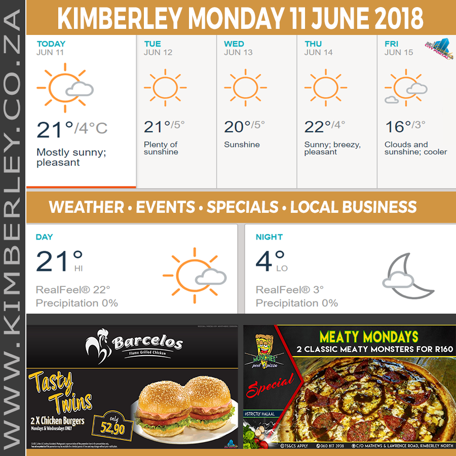 Today in Kimberley South Africa - Weather News Events 2018/06/11