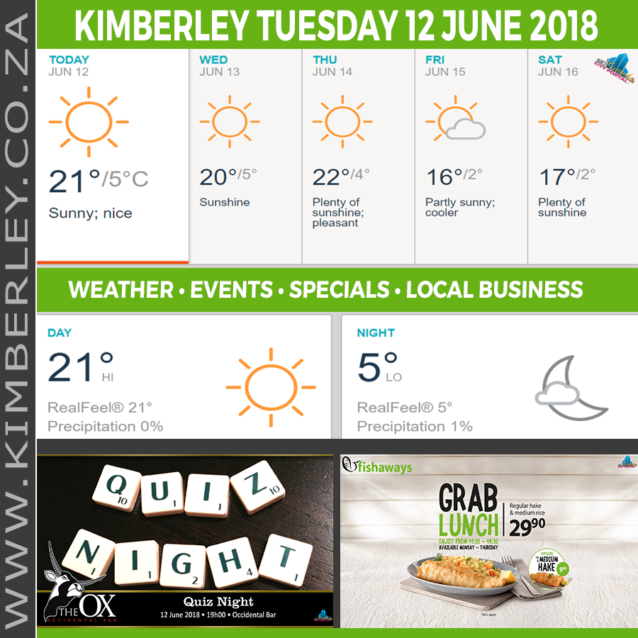 Today in Kimberley South Africa - Weather News Events 2018/06/12