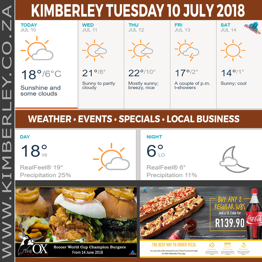 Today in Kimberley South Africa - Weather News Events 2018/07/10