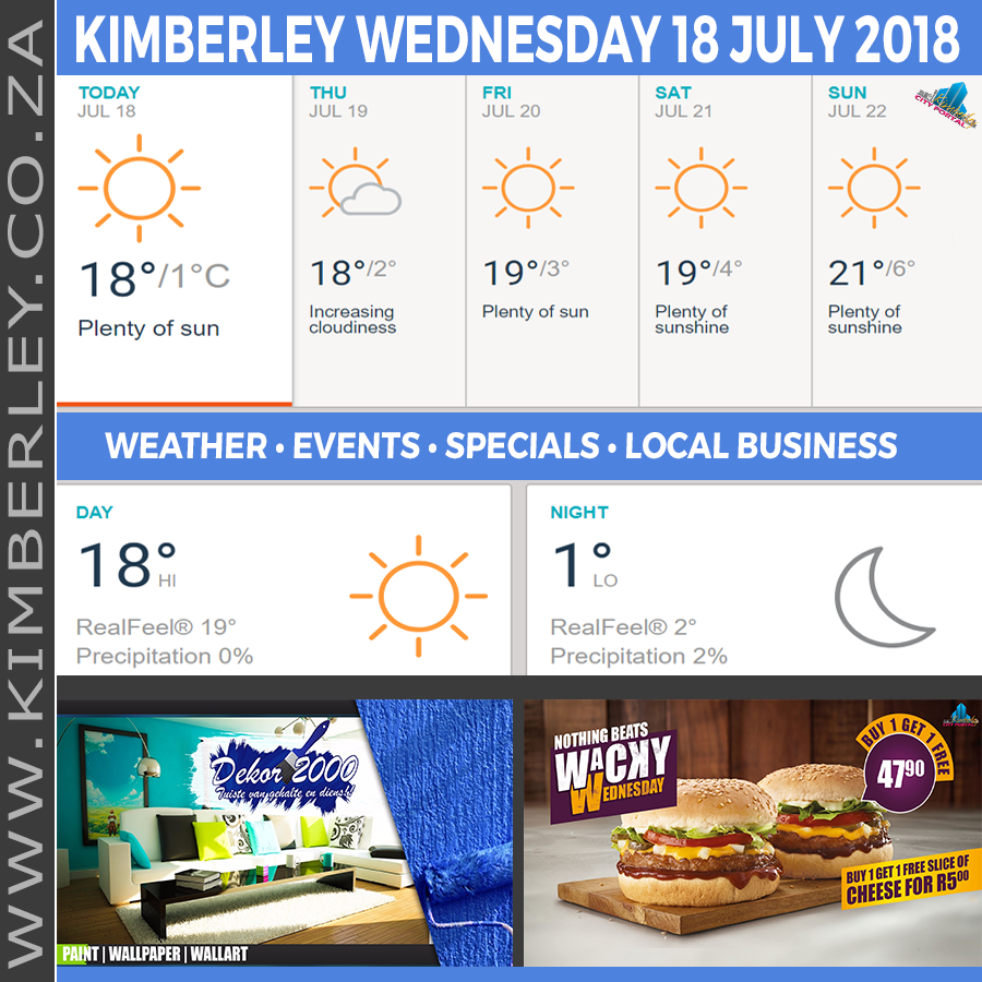Today in Kimberley South Africa - Weather News Events 2018/07/18