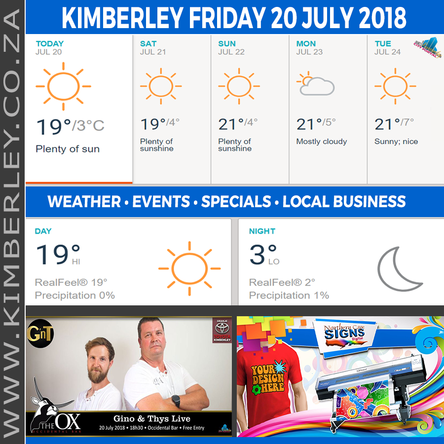 Today in Kimberley South Africa - Weather News Events 2018/07/20