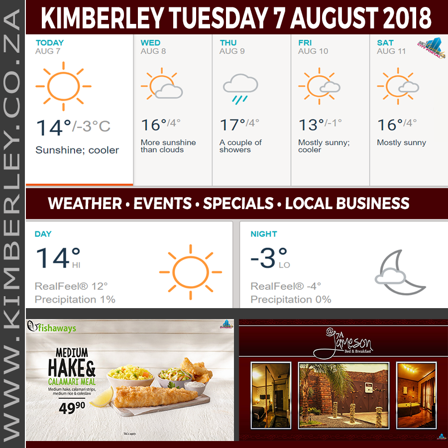 Today in Kimberley South Africa - Weather News Events 2018/08/07