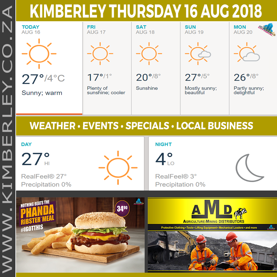 Today in Kimberley South Africa - Weather News Events 2018/08/16