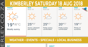 Today in Kimberley South Africa - Weather News Events 2018/08/18