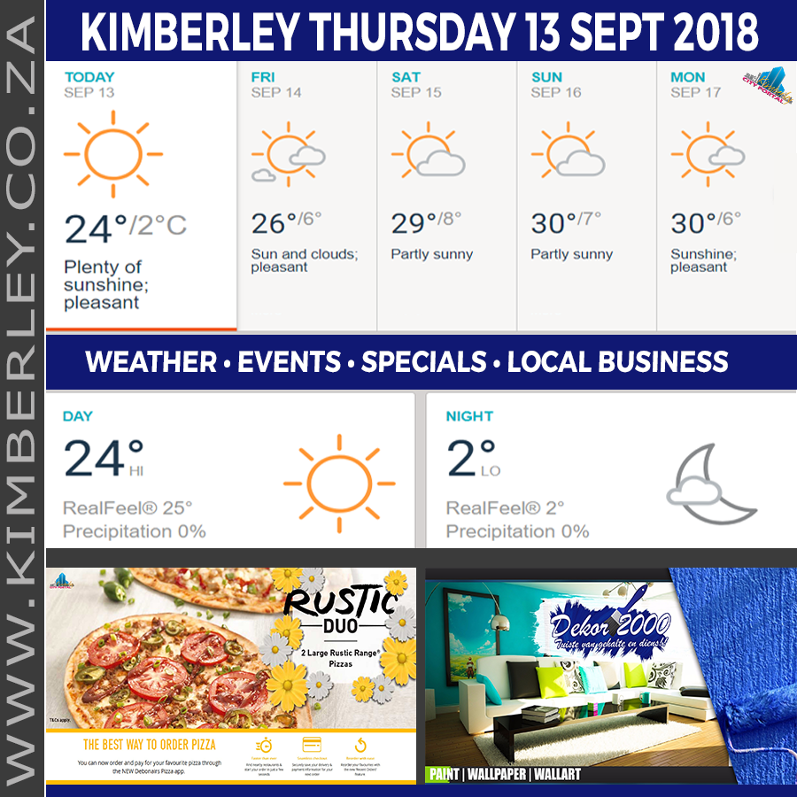 Today in Kimberley South Africa - Weather News Events 2018/09/13