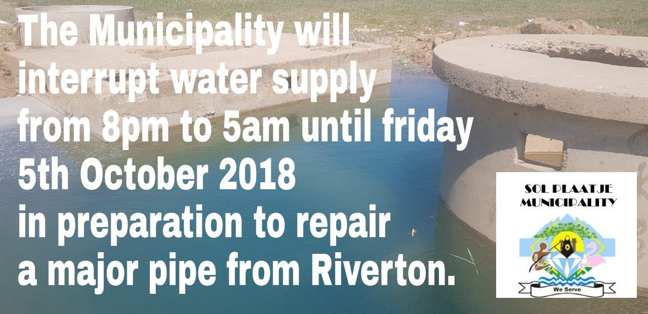 Kimberley City Wide Water Shutdown 05/10/2018 Notice
