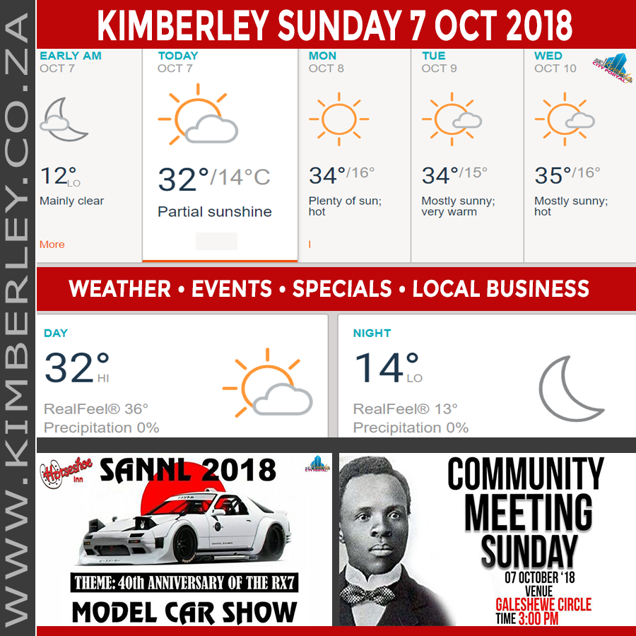 Today in Kimberley South Africa - Weather News Events 2018/10/07