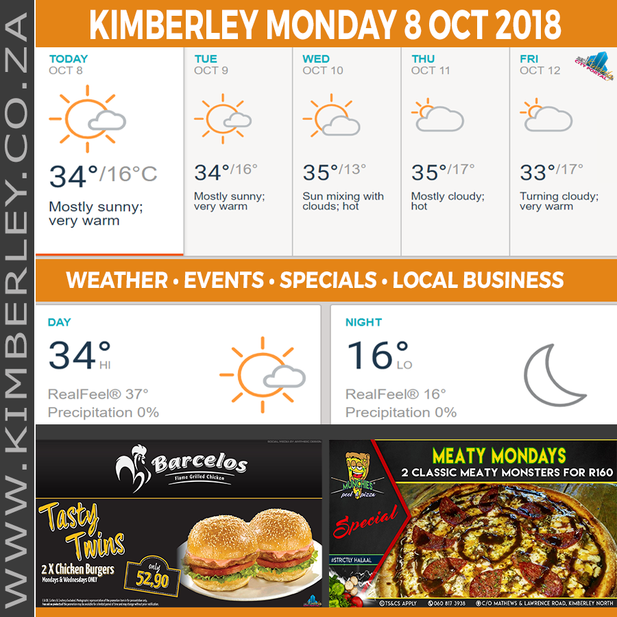 Today in Kimberley South Africa - Weather News Events 2018/10/08