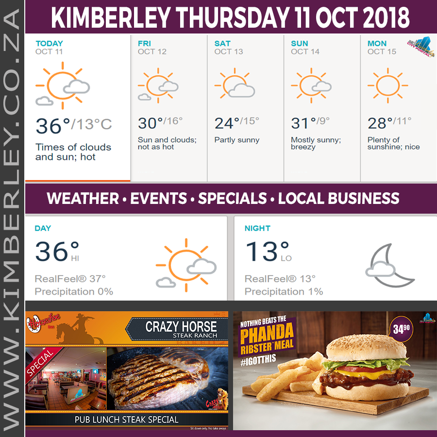 Today in Kimberley South Africa - Weather News Events 2018/10/11