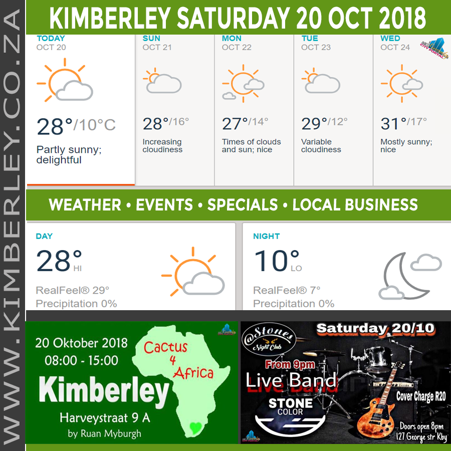 Today in Kimberley South Africa - Weather News Events 2018/10/20