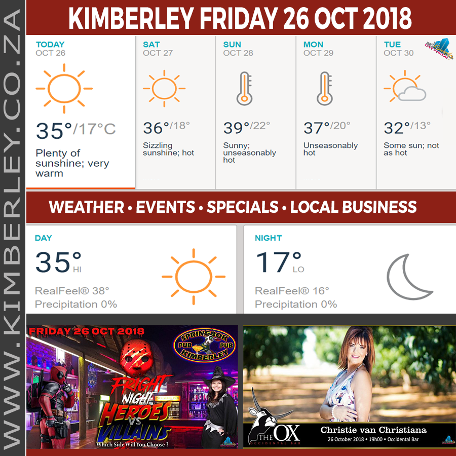 Today in Kimberley South Africa - Weather News Events 2018/10/26