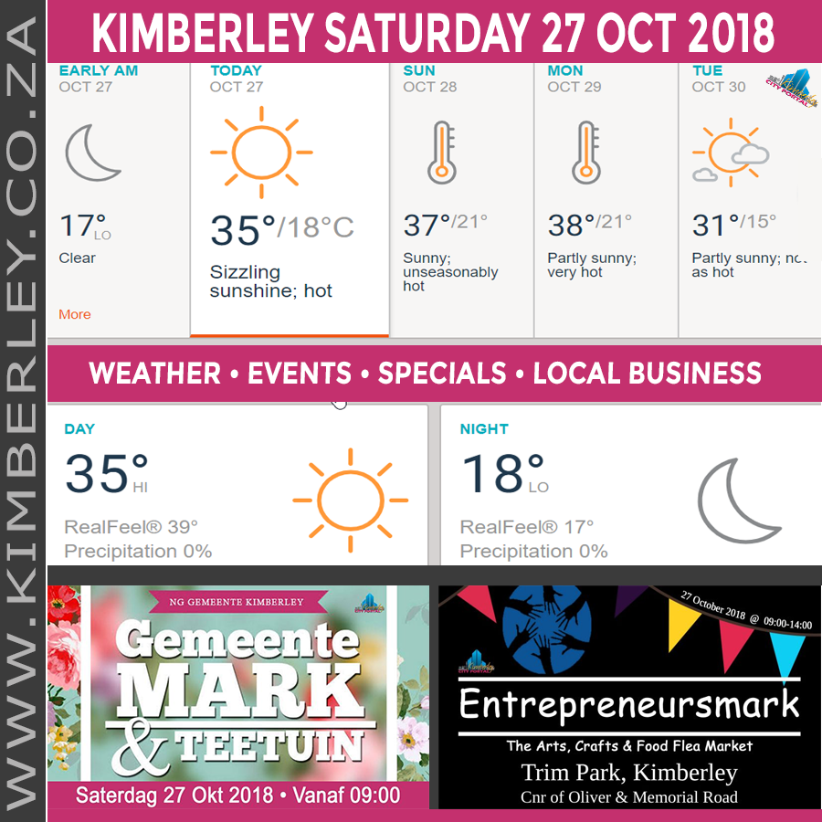 Today in Kimberley South Africa - Weather News Events 2018/10/27