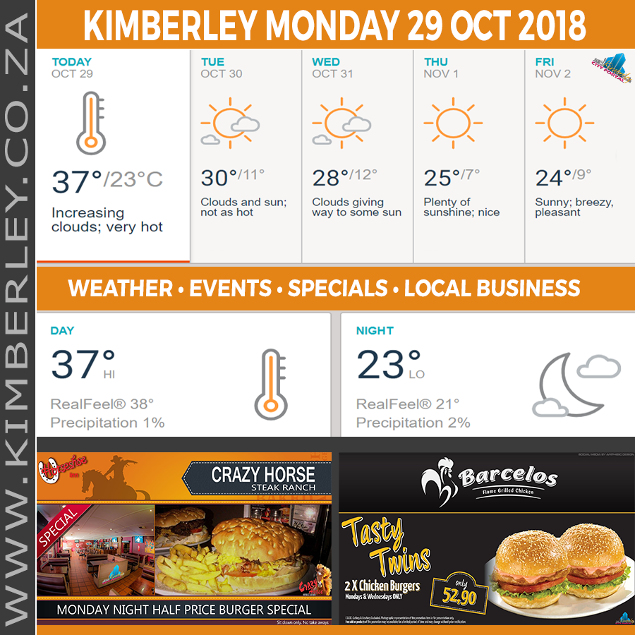 Today in Kimberley South Africa - Weather News Events 2018/10/29