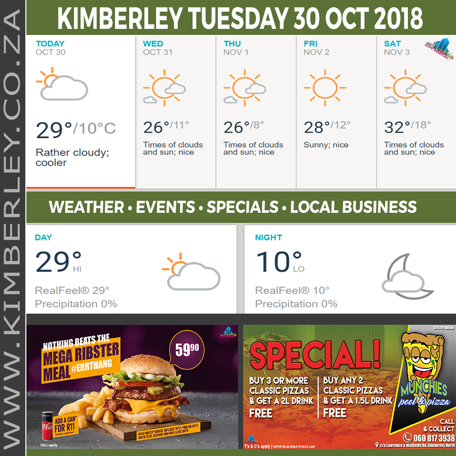 Today in Kimberley South Africa - Weather News Events 2018/10/30