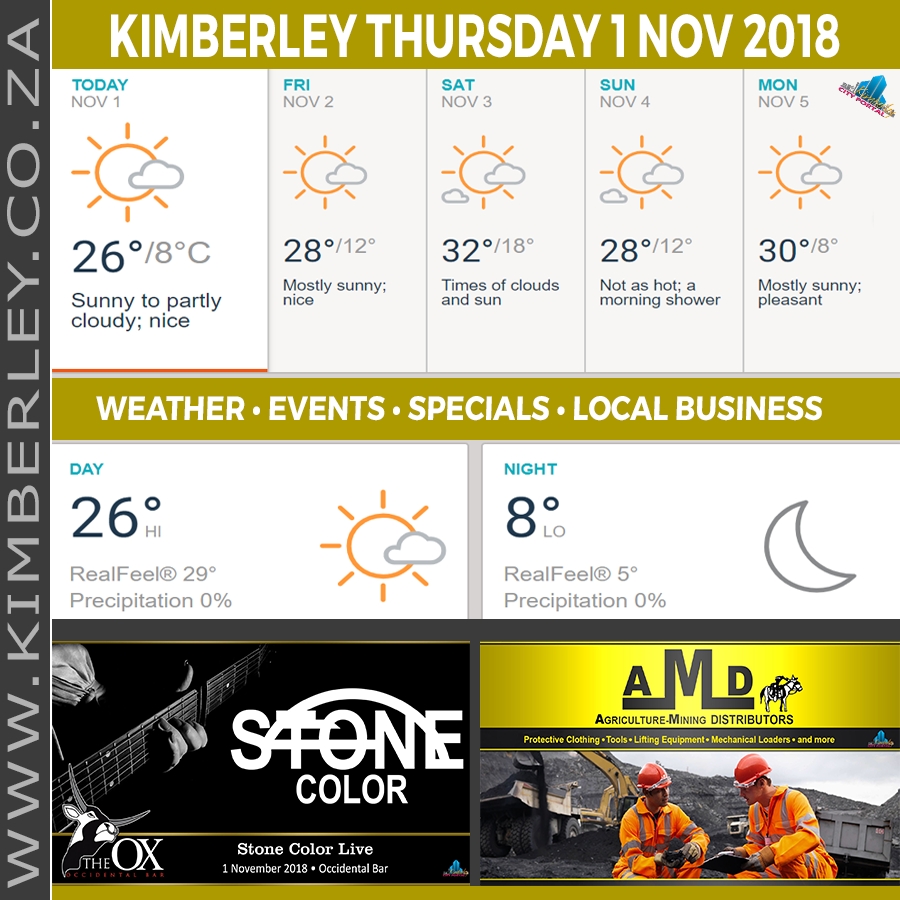 Today in Kimberley South Africa - Weather News Events 2018/11/01